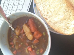 beef stew and a keyboard